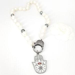 NEW Freshwater Baroque Pearls Hamsa Evil Eye